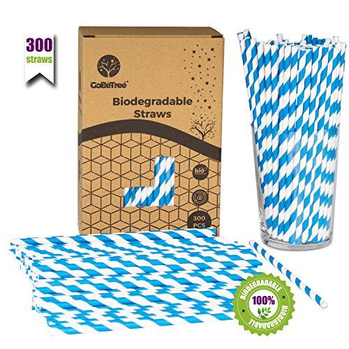 GoBeTree 300 Pajitas de Papel biodegradables con Rayas Azules, Pajita Desechables ecológicas compostables. Cañitas para Fiestas, cumpleaños y Celebraciones. Bebidas frías y Calientes.