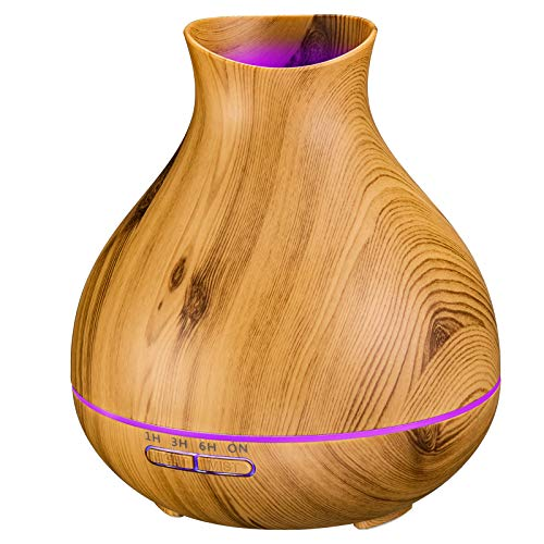 Aromatherapy Essential Oil Diffuser 550ml 12 Hours Wood Grain Aroma Diffuser with Timer Cool Mist Humidifier for Large Room, Home, Baby Bedroom, Waterless Auto Shut-Off, 7 Colors Lights Changing