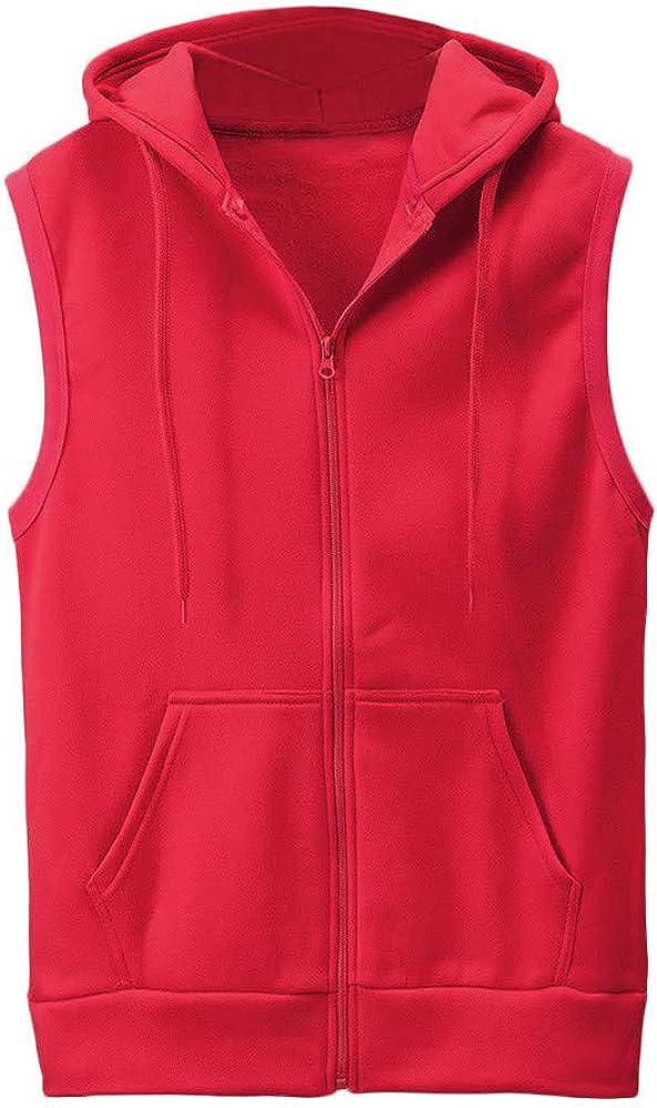 VEKDONE Men's Casual Slim Fit Zip-up Hoodie Tank Tops Sleeveless Pockets Plain Hooded Vests Waistcoat