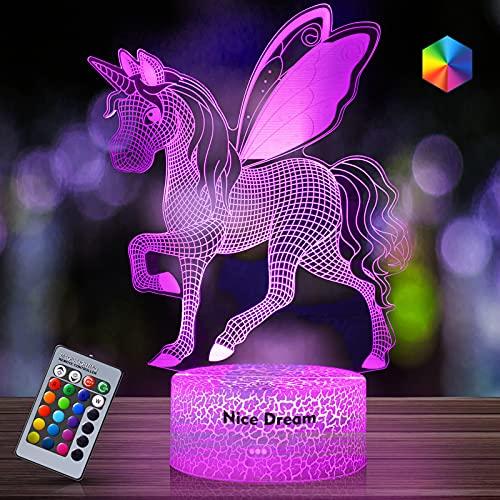 Regalo de Unicornio Luz de Noche para Niños, Lámpara de Luz 3D 7 Colores Cambian con Control Remoto, Ideas de Festivo y Regalos para Niños Niñas y Adultos (unicornio5)