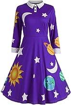 Fashion Womens Print Botton Long Sleeve Flare Vintage Dress Sun and Moon Star
