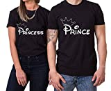 Krone Prince Princess King Queen T-Shirt PartnerLook Couple Set Doux pour Les Couples...