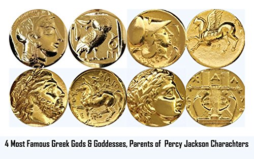 Golden Artifacts Percy Jackson Teen Gift, Athena, Zeus, Apollo, 4 Top Gods and Goddesses Greek Coins, Parents of Percy's Characters, Greek Mythology (Top4-G)
