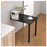 CJCJ Folding Dining Table, Space-Saving Artificial Board Wall-Mounted Desk and Storage Shelf, Hanging Workbench for Bedroom Kitchen Balcony,Black,90x60cm