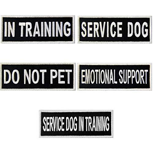 Service Dog in Training Do Not Pet Emotional Support Vest / Harnesses Morale Tactical Patch Embroidered Badge Fastener Hook & Loop Emblem, 2 X 6 Inch, 5 Pcs
