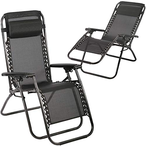 FDW with Adjustable Folding for Pool Side Yard Beach Outdoor Furniture Patio Lounge Camping Chair, Black
