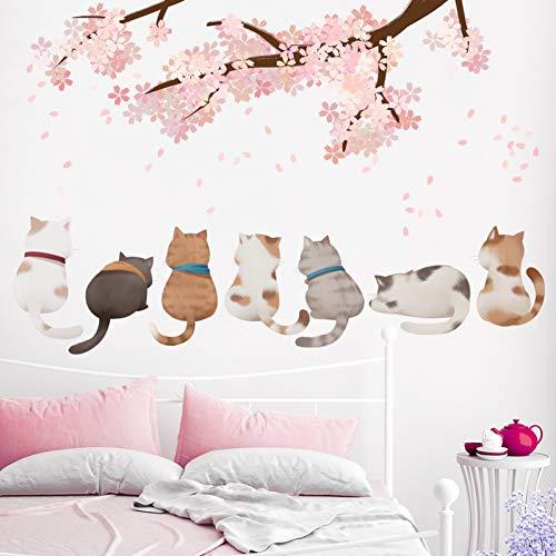 TAOYUE Cartoon Katzen Tiere Wandaufkleber DIY Oriental Cherry Wandtattoos für Kinder Schlafzimmer Babyzimmer Kinderzimmer Dekoration