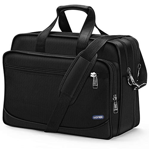 HOMIEE 17 Inch Laptop Computer Bag, Large Business Briefcase Expandable Messenger Shoulder Bag with Organizer Durable Carrying Case for Travel/Business/School/Men/Women Fits 17' Computers, Black
