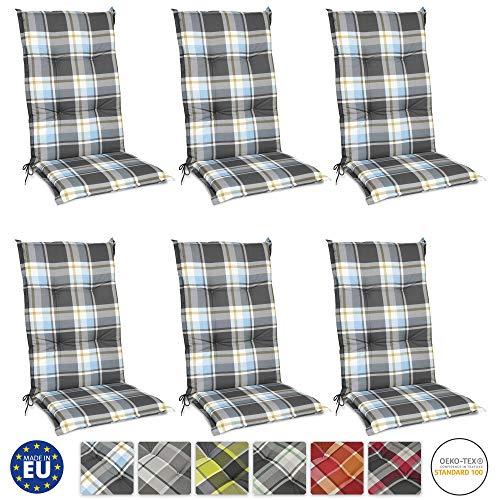 120 cm hohe Polsterauflage aus Baumwolle t/ürkis /& grau komfortable Stuhlauflage mit Kreisheftung und Karomuster Kettler Sesselauflage f/ür Hochlehner