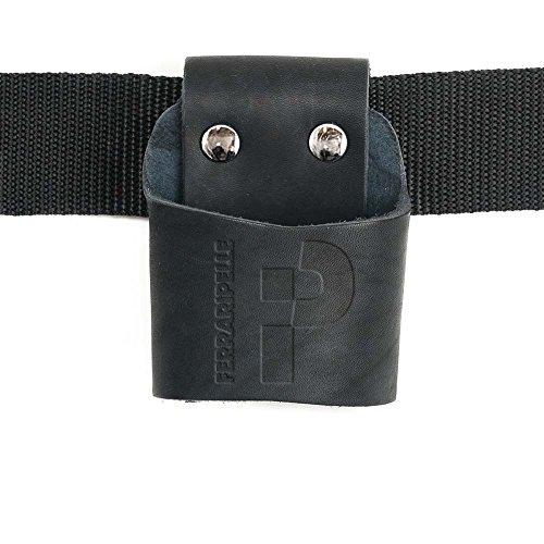 Porta Hammer - en cuir Vero, noir, rivets Chrome, ceinture inclus