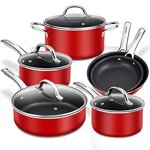 HITECLIFE Cookware Sets 10 Pieces, Nonstick Pots and Pans Set, Induction...