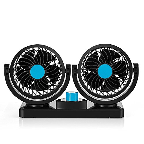 Bestland Doppelkopf-Fahrzeug-Ventilator 12V Auto Kfz Ventilator mit 360-Grad-Drehung 2Speed starker Wind