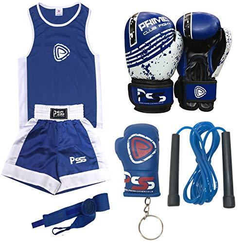Prime Boxanzug-Set für Kinder (1004), 5-teilig mit Boxanzug, Boxhandschuhe + Boxsack, 170 g, blau, Blue-1004-6oz, 11-12 Jahre