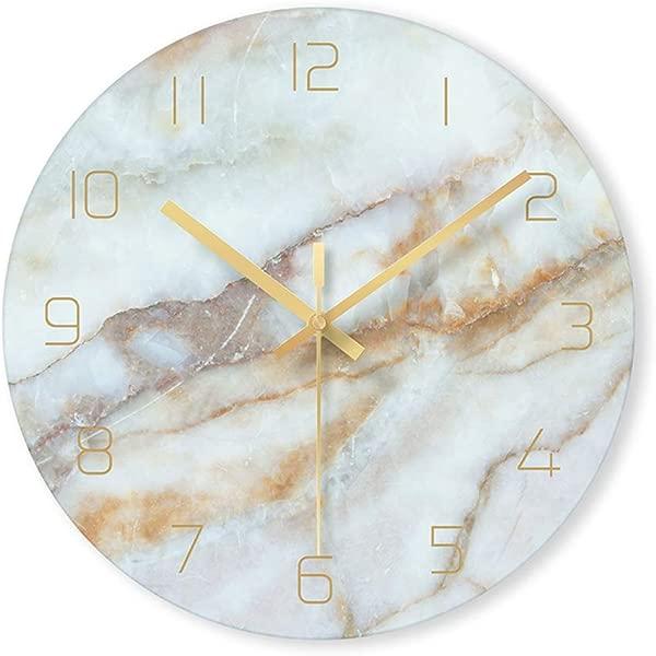 PATGO 装饰玻璃挂钟大理石图案风扇在厨房客厅卧室办公室金色指针电池供电