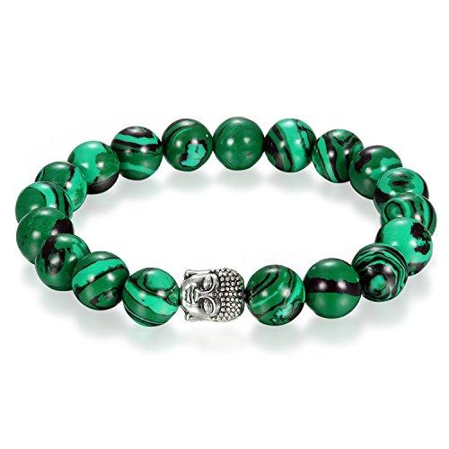 Flongo 10mm Energiearmband Energie Armband Armreif Link Handgelenk EnergieStein Malachit Silber Grün Buddha Gebet Mala Kugel Perle Perlen Elastisch Herren, Damen