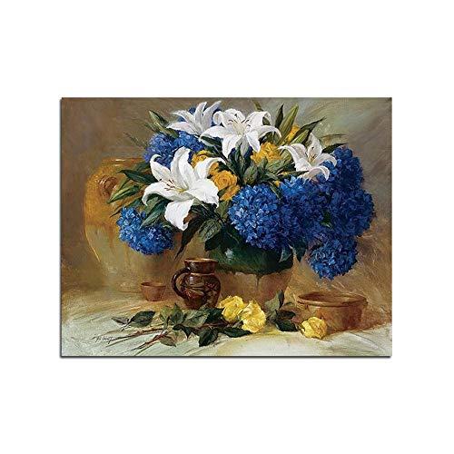 Flower Cluster Rose schilderij op nummer bloemen vaas stilleven digitaal schilderen met houten Frame
