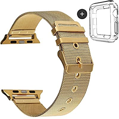 Deyo Compatible Apple Watch Bands with Screen Protector Case Cover,38mm/42mm Women Men Milanese Loop Stainless Steel with Metal Clasp Compatible iWatch Series 3/2/1 Sport Edition