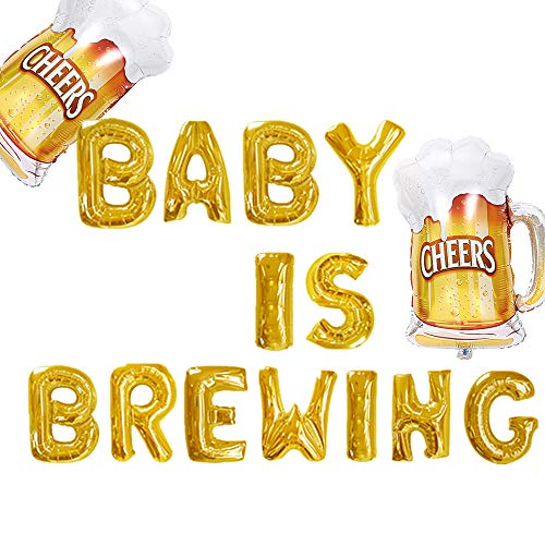 JeVenis Gold Baby is Brewing Balloons Baby is Brewing Banner Baby Reveal Balloons Baby Brewing Baby Shower Decor Baby Gender Reveal Decoration