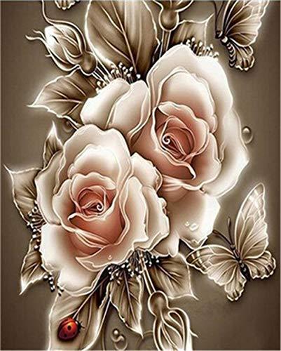 YEESAM ART DIY Ölgemälde Malen nach Zahlen Erwachsene Kinder, Golden Rose Blumen Schmetterling Marienkäfer Zahlenmalerei ab 5 Öl Wandkunst (Rose, mit Rahmen)