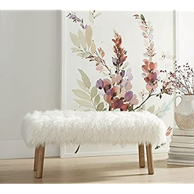 White Faux Fur Upholstered Sitting Bench | Bedrooms, Entry Way, Living Room