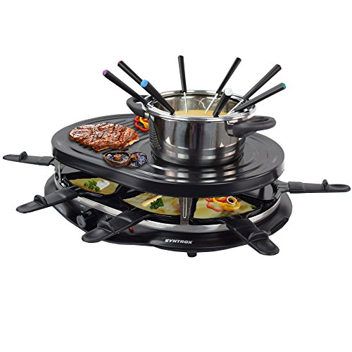 Syntrox Germany 4-in-1 raclette-grill-fondue-hete steen voor 8 personen
