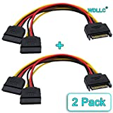 WAREHOUSEDEALS SATA ATA Power Y Splitter Cable Adapter 6-Inch M/F 15 Pin (2 Pack) - WDLLC