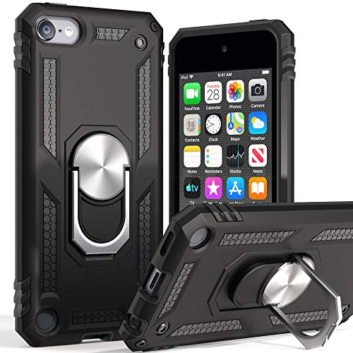 iPod Touch 7 CaseiPod Touch 6 Case with Car MountCyberowl Hybrid Rugged Shockproof Cover with Builtin Kickstand for Apple iPod Touch 5 6 7thBlack