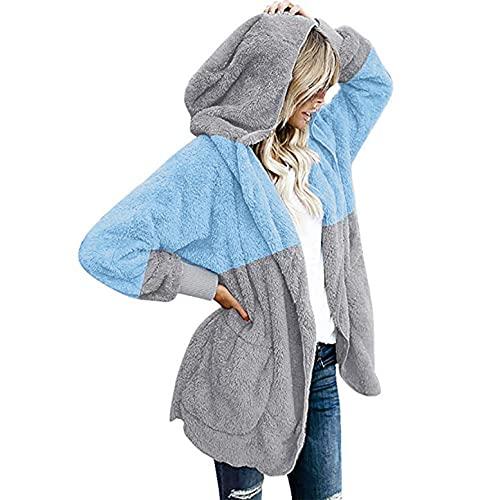 AmorLor Womens Fuzzy Fleece Sweatshirt Fuzzy Fleece Zip Up Pullover Sherpa Coat Lapel Outwear Winter Warm Jacket Blue