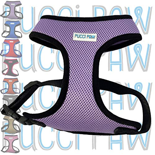Pucci Paw Dog Harness Cushioned Extra Padding Comfortable Mesh Pet Harness No Pull Breathable All Weather Eco Friendly Light Weight Strong Puppy Small Medium Large Breed (Small Light Purple)