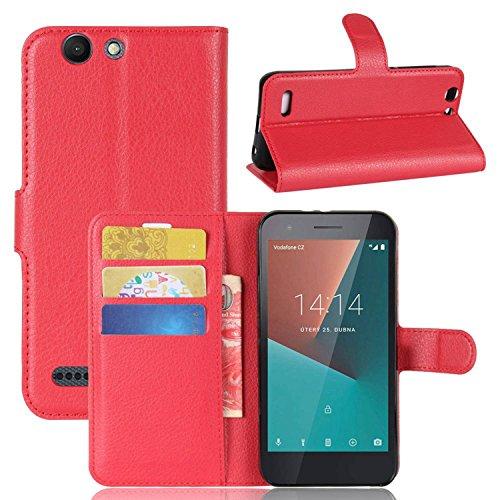 Tasche für Vodafone Smart E8 Hülle , Ycloud PU Kunstleder Ledertasche Flip Cover Wallet Hülle Handyhülle mit Stand Function Credit Card Slots Bookstyle Purse Design rote