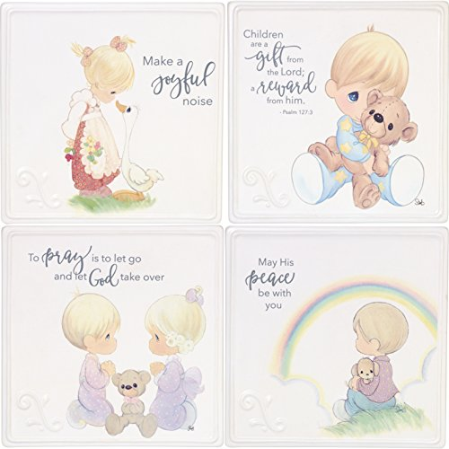 Precious Moments Girl & Boy Praying Baby Plaque (Set of 4), One Size, Multicolor