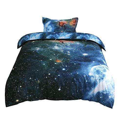 sourcing map Estrella Cielo Cosmos Patrón 3D Estampado Único Reina Edredón Funda Nórdica Cubierta Conjunto- Incluye 1 Funda Nórdica Cubierta, 1 Fundas Almohadas Multicolor Soltero
