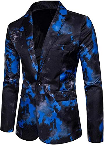 Mens Casual Business 1 Button Regular Fit Digital Print Dress Blazer Jacket Coat