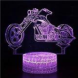 Única motocicleta locomotora carrera base de grietas luz led 3d panel acrílico creativo lámpara de escritorio pequeña multicolor luz ambiental luz visual luz nocturna LED luz decorativa preferida