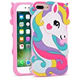 BEFOSSON for iPhone 7 Plus Unicorn Case, iPhone 8 Plus Horse Case Cute 3D Cartoon Funny Colorful Unicorn Rainbow Horse Soft Silicone Rubber Phone Cover Case for iPhone 7 Plus/iPhone 8 Plus