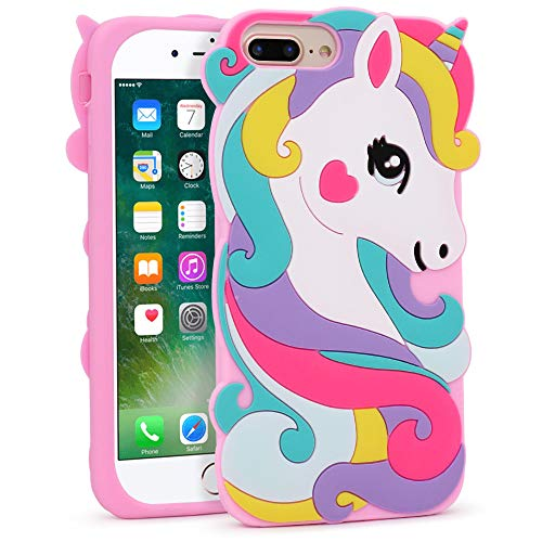 BEFOSSON 3D Cartoon Unicorn Case for iPhone 7 Plus / 8 Plus (5.5 inches), iPhone 7 Plus / 8 Plus Cute Funny Kawaii Unicorn Rainbow Horse Soft Silicone Rubber Phone Cover Case for Girls Teens Kids