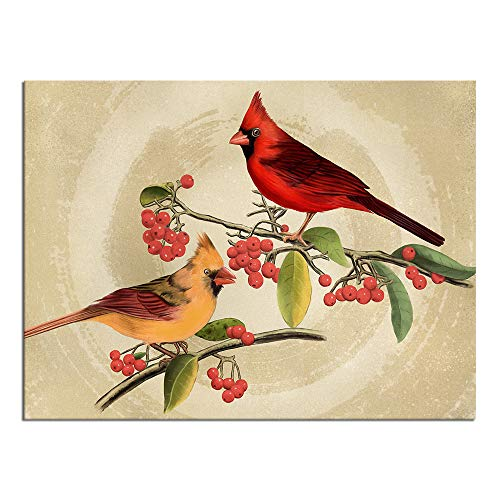 sechars Vintage Birds Canvas Wall Art Cardinal Red Berries Painting Pictures Print for Living Room Decor Winter Landscape Poster Gallery Canvas Wrap Ready to Hang 24x36inches