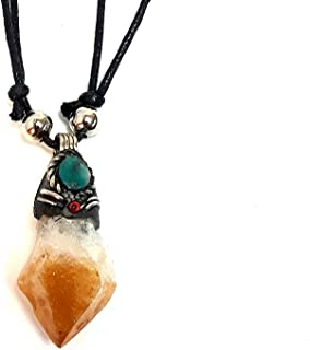 Mia Jewel Shop Natural Raw Rough Healing Gemstone Pendant Round Chrysocolla Stone Adjustable Necklace