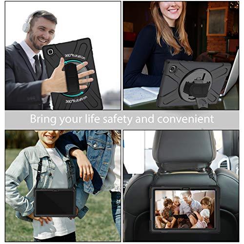 Gerutek Hülle für Samsung Galaxy Tab A7 10.4 Zoll, Stoßfeste Robust Panzerhülle mit Drehbar Stände, Handschlaufe, Schultergurt Schutzhülle für Samsung Tab A7 10.4 2020 SM-T500/SM-T505/SM-T507, Schwarz