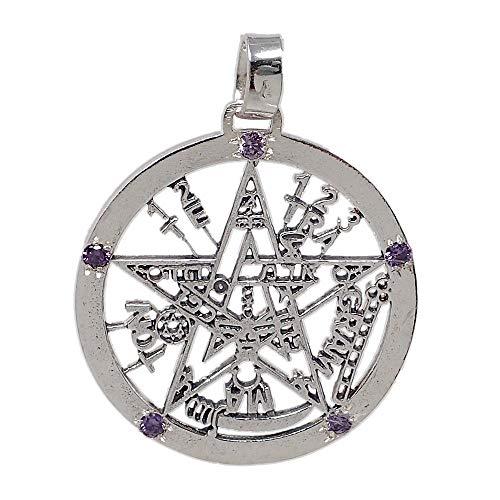 Colgante Plata Ley 925M Tetragramatón 37mm. Amuleto Piedras Moradas Protección...