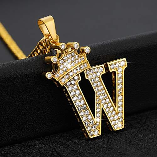 Collares con Colgante de Alfabeto de circonita de Cristal para Mujeres y Hombres, Collar con Letra Inicial de Corona, joyería de Cadena de Oro de Hip Hop
