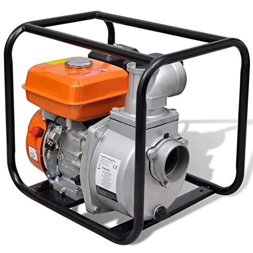 Pompa d'Acqua a Benzina, Motopompa a Scoppio Pompa d'Acqua con Motore a Benzina 80 mm Collegamento 6,5 HP, Motore a Benzina a 4 Tempi 3600 RPM, con Accessori Inclusi