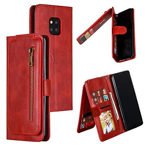 MAXJCN. Caso per Huawei Mate 20 PRO, Portafoglio Multi Portata con Tasca con Cerniera, Custodia da Portafoglio in Pelle PU con caratteristica di cavalletti (Color : Red)