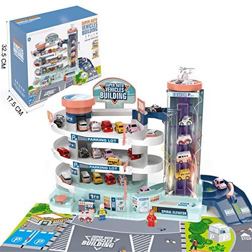 ZJL220 4 capas de estacionamiento garaje juguete con ascensor eléctrico y manual coche de juguete pista