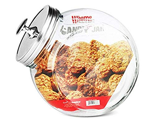 Home Basics GJ01386 Glass Cookie Candy Jar Container with Fresh Sealed Lid – Kitchen Home Décor Storage (X-Large)