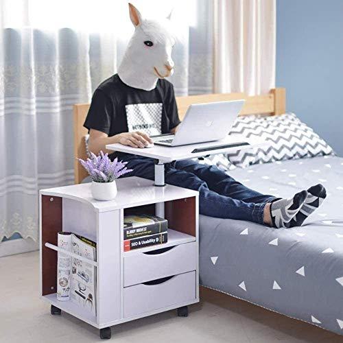 Daily Equipment Mesa de noche móvil con acabado para computadora portátil, tableta, 2 cajones, mesita de noche, gabinete de almacenamiento con estante abierto, mesa auxiliar, moderna y versátil, me