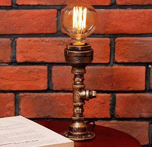 L.W.S Lámpara de Escritorio Lámpara de Mesa Retro Estilo Industrial Tubo de luz iluminación Decorativa Restaurante Bar, Cobre, a