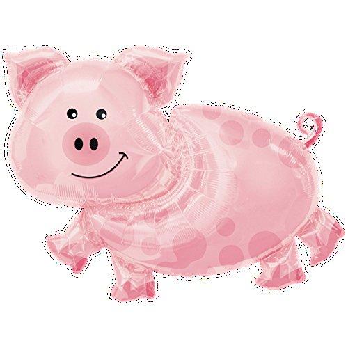 paduTec Ballon XXL Folienballon Luftballon - Tierballon Schwein Glücksschwein - Glücksbringer Geburtstag Kindergeburtstag Deko - geeignet zur befüllung mit Luft oder Helium Gas
