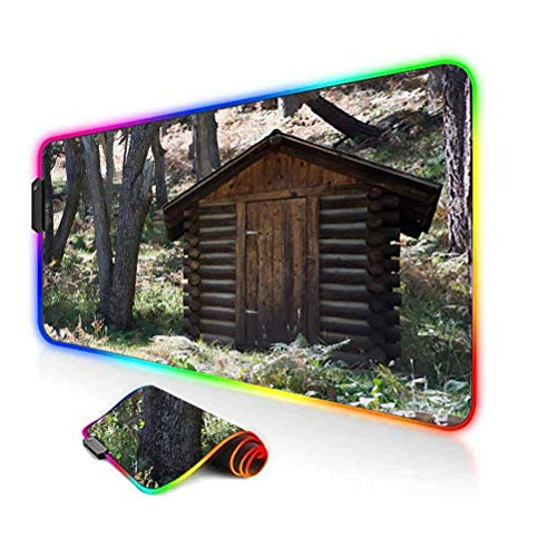 RGB Gaming Mouse Pad,Wooden Primitive Life Barn Shed in Spring Forest Leaves Lumberjack Photo Soft Computer Keyboard Mouse Pad,35.6'x15.7',for Game Players,Office,Study Dark Brown and Green