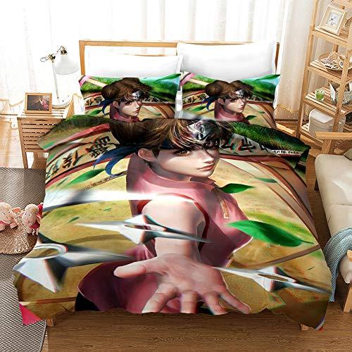 Stuyon Naruto juegos de cama, suave microfibra anime juegos de edredón funda de almohada, juegos de funda de edredón doble 200 x 200 cm y 2 fundas de almohada de 50 x 75 cm